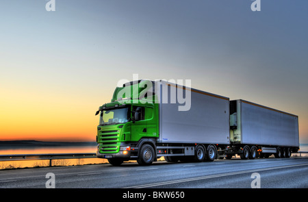 Long-distance lorry on the go