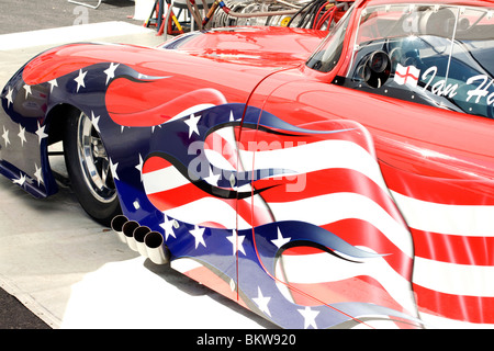 customised American corvette spray painted in the colours of the American flag - Stock Photo