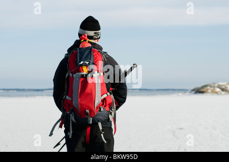 Man out on the ice - Stock Photo