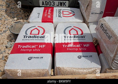 Bales of Tradical Hemp shiv for environmentally friendly building construction UK - Stock Photo