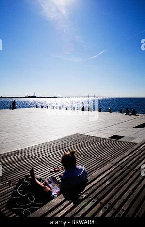 View over bridge and water - Stock Photo