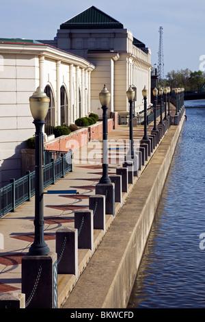 Riverwalk in downtown of Joliet - Stock Photo