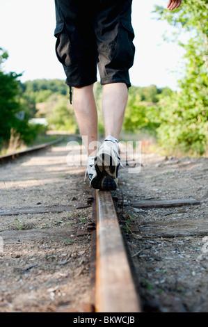 Walk on rail - Stock Photo