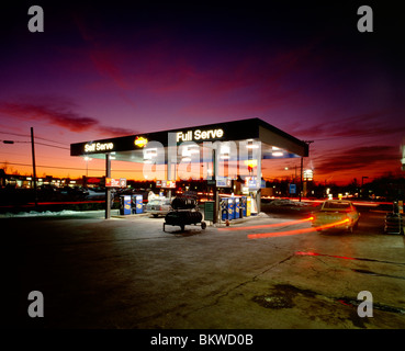 Dusk view of a gasoline station and convenience store; Maple Glen, Pennsylvania, USA - Stock Photo