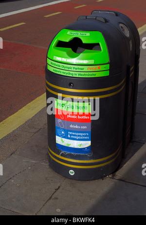 New style safety recycling waste bin, Baker Street, London, UK, Europe - Stock Photo