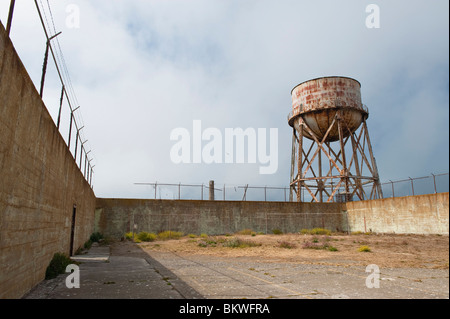 The Water Tower & Recreation Yard in Alcatraz Island Prison or 'The Rock', San Francisco Bay, California, USA - Stock Photo