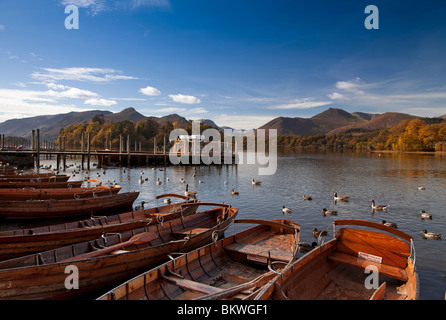 Derwentwater towards Catbells and Causey Pike in autumn, Cumbria, England - Stock Photo