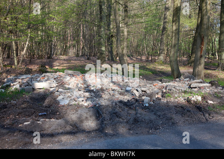 Fly-tipped builders rubble dumped illegally in woodland near Hyde Heath, Buckinghamshire - Stock Photo