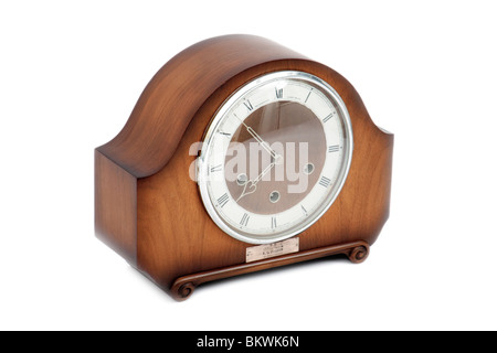 Vintage 1950's Smiths Westminster Chime 8-day wooden mantel clock issued by British Rail Western Region - Stock Photo