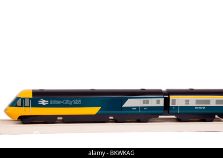 Vintage handmade wooden display model of British Rail BR InterCity 125 high-speed passenger train, isolated on white - Stock Photo