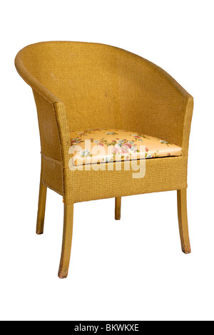 Vintage 1960u0027s Golden Commode Bedroom Chair, Isolated On White Background    Stock Photo
