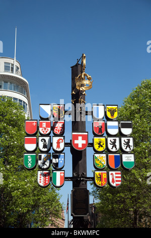 The coats of arms of the 26 cantons of Switzerland, Swiss court, Leicester Square, london UK - Stock Photo