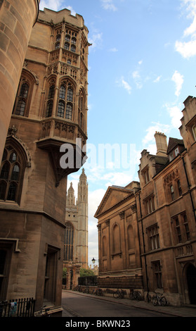 Kings Chapel and Clare College from Trinity Lane, Cambridge, England, UK - Stock Photo