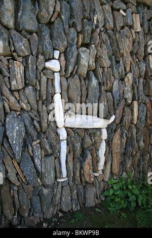 White stone llama in the terraces of the Inca ruins of choquequirao, Peru - Stock Photo
