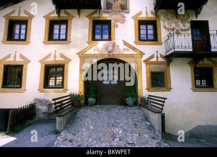 Architecture village of Schmitten Graubunden Canton Switzerland Europe - Stock Photo