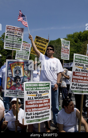 May 1, 2010: May Day rally and march for immigrant and workers rights at Union Square, New York City. - Stock Photo