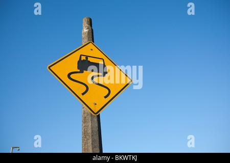 Slippery When Wet Traffic Warning Sign - South Park - Seattle, Washington - Stock Photo