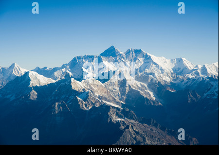 Aerial photograph of  the Himalaya mountain range with Mount Everest in the middle in Nepal - Stock Photo