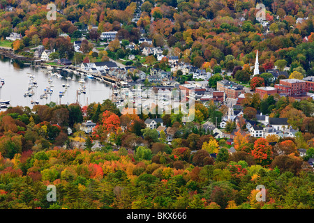 Camden, Maine as seen from Mount Battie in Camden Hills State Park. Fall. - Stock Photo