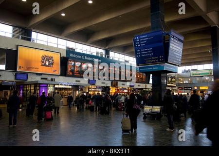 Euston Station concourse - departures - Stock Photo