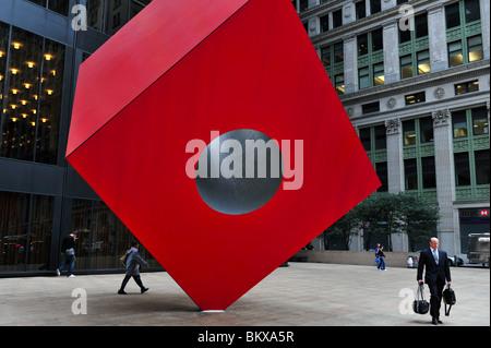Isamu Noguchi's Red Cube Manhattan New York NY - Stock Photo