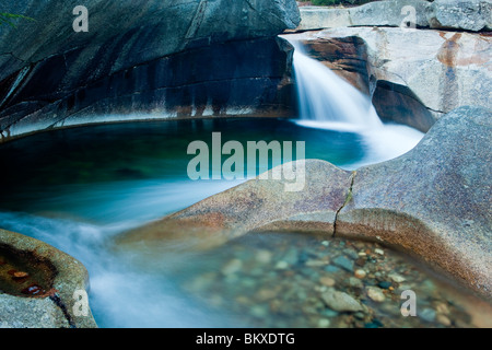 The Basin in New Hampshire's Franconia Notch State Park.  Pemigewasset River. - Stock Photo
