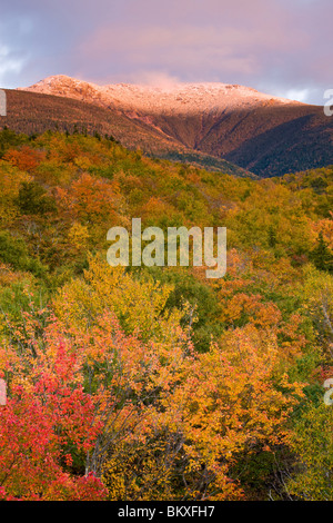 A snow-capped Mount Lafayette in fall in New Hampshire's White Mountains. White Mountain National Forest. - Stock Photo