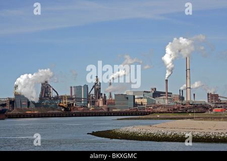 Koninklijke Hoogofens en Staalfabrieken at Ijmuiden Locks Velsen The Netherlands Europe - Stock Photo