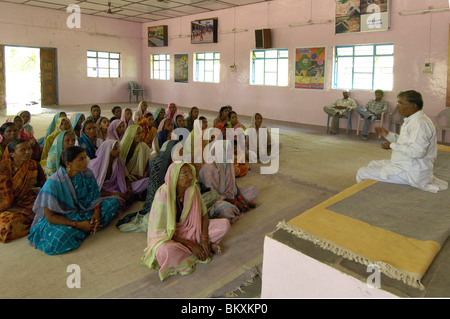 Villagers from different villages attending training session at Ralegan Siddhi near Pune ; Maharashtra ; India - Stock Photo