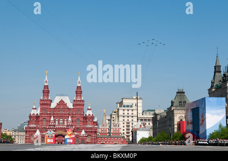 Russian air force Sukhoi SU-34, 3 SU-24M, 4 SU-27 and 2 MiG-29 fly over the Red Square on Moscow Victory Parade - Stock Photo