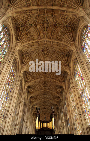 Vaulting at King's College Chapel Cambridge, England UK. - Stock Photo