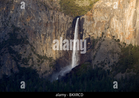 Yosemite National Park, CA: Bridalveil Falls in the Yosemite Valley, from the overlook at Tunnel View - Stock Photo