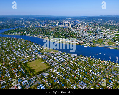 Aerial view of Brisbane Queensland Australia looking West from Bulimba - Stock Photo