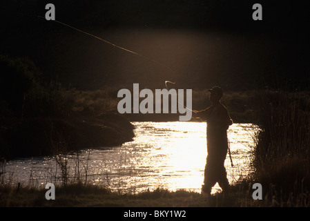 A man in waders cast his fly line next to a river at sunset in Bishop, California.(backlit) - Stock Photo