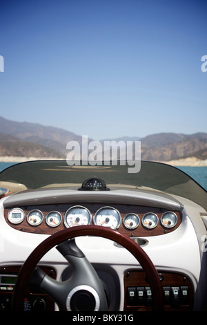 Steering wheel of a wakeboarding boat at Castaic Lake, Santa Clarita, California. - Stock Photo