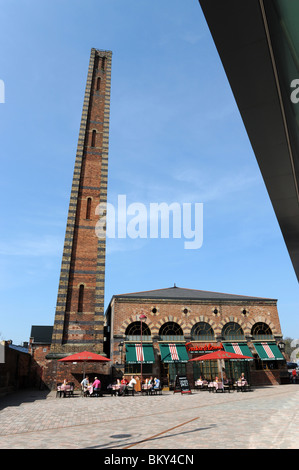 Tall brick chimney stack from a regenerated carpet factories in Kidderminster Worcestershire England UK - Stock Photo