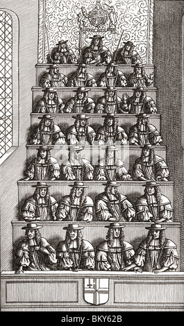 The Lord Mayor of London and Court Of Aldermen in the 17th century - Stock Photo