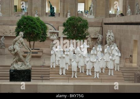 Paris, France - Contemporary Sculpture on Display Inside Louvre Museum, Winter Garden - Stock Photo