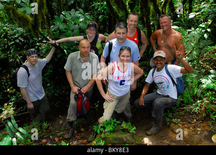 Group of hikers on the Maderas Volcano, Ometepe Island, Nicaragua, Central America - Stock Photo
