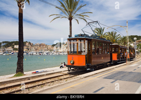 Nostalgic train Red Flash at the harbour Port de Sóller, Soller, Mallorca, Balearic Islands, Spain, Europe - Stock Photo