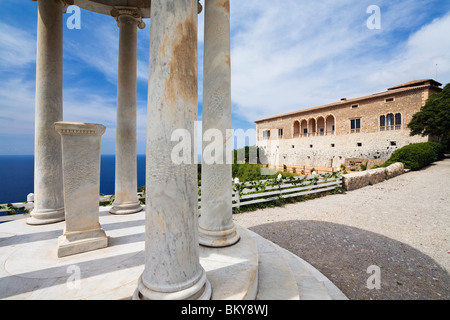 Son Marroig, Manor House with Ionic temple, Tramuntana Mountains, Mediterranean Sea, Mallorca, Balearic Islands, - Stock Photo