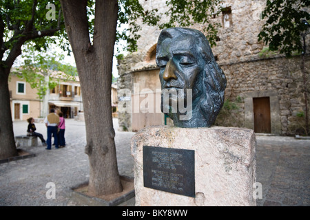 Bust of Frederick Chopin in front of carthusian monastery, Valldemossa, Tramuntana Mountains, Mediterranean Sea, - Stock Photo