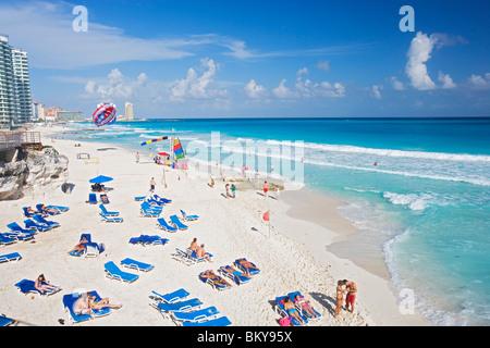 Chac-Mool beach, Cancun, State of Quintana Roo, Peninsula Yucatan, Mexico - Stock Photo