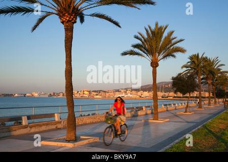 Cyclist at waterfront promenade Avinguda Gabriel Roca at sunrise, Palma, Mallorca, Balearic Islands, Mediterranean - Stock Photo