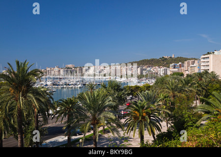 Marina of Palma with Bellver Castle in the sunlight, Avinguda Gabriel Roca, Mallorca, Balearic Islands, Mediterranean - Stock Photo