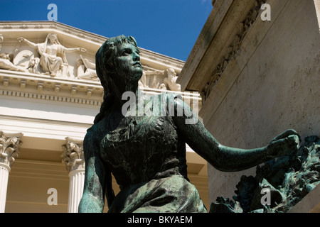 Arany Monument and Hungarian National Museum, Monument to Poet János Arany in front of Hungarian National Museum, - Stock Photo
