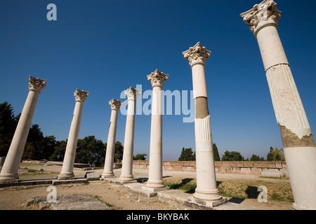 Group of ionic columns of the temple Asklipieion, Kos-Town, Kos, Greece