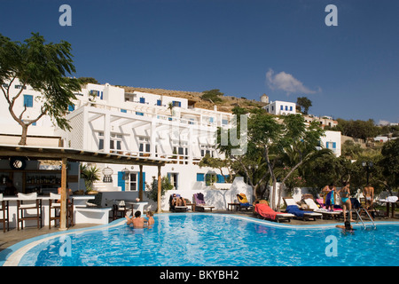 Hotel pool with people  View over the pool with people to the Leto Hotel Mykonos Town near ...