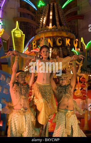 Live performance, Festival Village, Phuket Fantasea, Nighttime Cultural Theme Park, Kamala Beach, Phuket, Thailand - Stock Photo