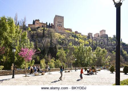 Promenade Paseo de los Tristes below the Alhambra, Province Granada, Andalucia, Spain - Stock Photo